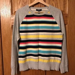 Women's Chaps Striped and Gray Sweater in Large